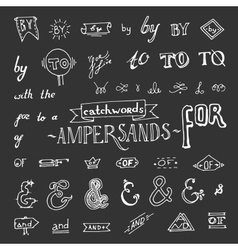 Set of chalkboard style ampersands vector