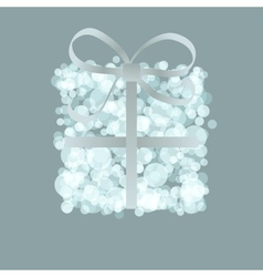 Card with present box from snowballs bow  eps8 vector