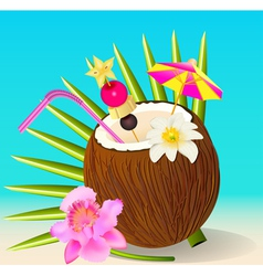 Cocktail in the coconut and flower orchid vector