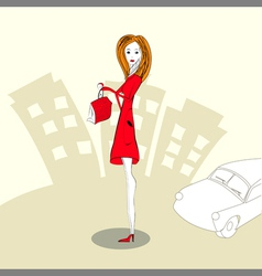 Woman in a red dress vector