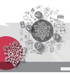 Hand drawn snowflake icons with icons background vector