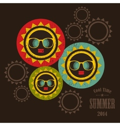 Summer cover bright sun and black woman face vector