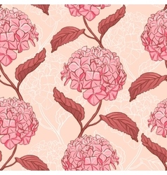 Seamless pattern with hydrangea vector