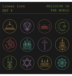 Outline icon set religion in the world flat linear vector