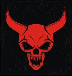 Red demon skulls vector