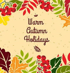 Autumn leaves frame flat style vector