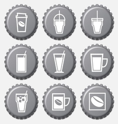 Coffee cup icon on bottle caps set vector