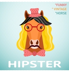 Portrait of funny vintage hipster horse with vector