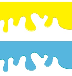 Flowing down paint yellow and blue set isolated vector