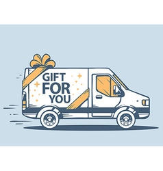 Van free and fast delivering gift for you vector
