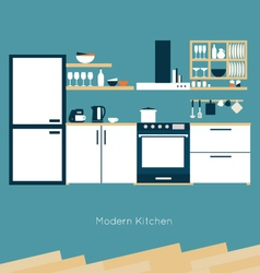 Kitchen interior vector