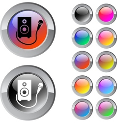 Karaoke multicolor round button vector
