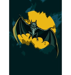 Bat in the night sky vector