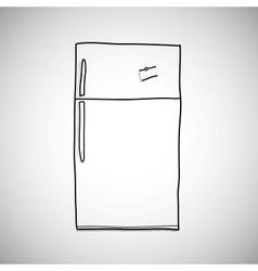 Hand drawn refrigerator skecth style vector