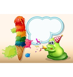 A green monster celebrating near the big icecream vector