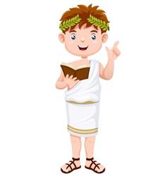 Ancient greek man cartoon vector