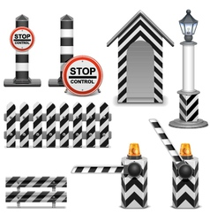 Police barrier icons vector