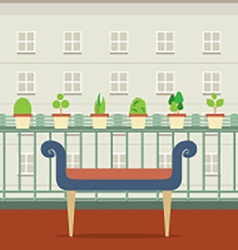 Empty bench at balcony with pot plant vector
