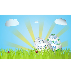 Easter design with grass sunrise two eggs vector