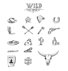 Wild west design sketch vector