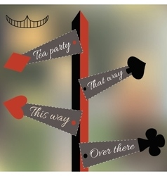 Alice set of four arrow signs from wonderland vector