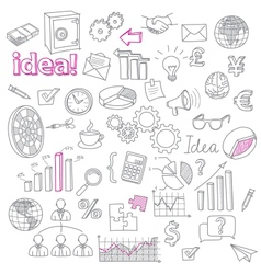 Hand drawn business doodles set vector