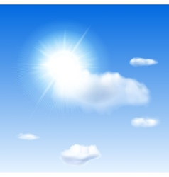 Blue sky with sun and clouds vector