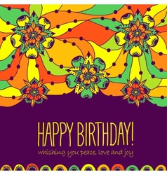 Colorful greeting card happy birthday vector