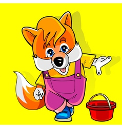 Cartoon fox in a pink jumpsuit shows the finger vector