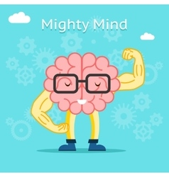 Mighty mind concept brain with great creative vector