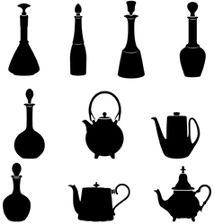 Six bottles and four teapots vector