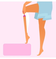 Woman wearing blue towel is shaving her leg vector