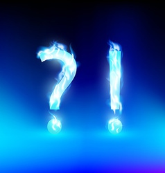 Question mark and exclamation mark with a blue vector