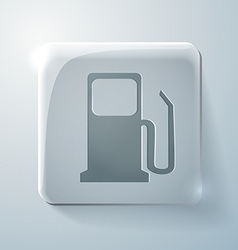 Gas station glass square icon with highlights vector