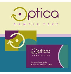 Logo business card for optics colored background vector