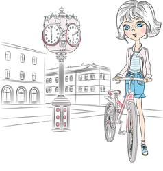 Beautiful fashionable girl with a bike on town squ vector