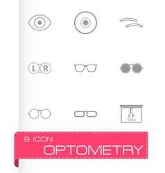 Black optometry icons set vector