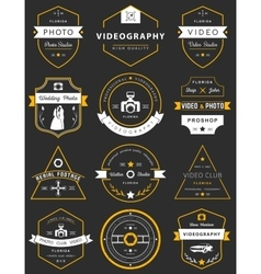 Set of badges photography and videography vector
