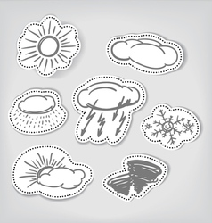 Hand-drawn weather icons set vector
