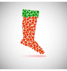 Santas red stocking concept of christmas or vector