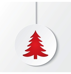 Christmas ball with christmas tree cut the paper vector
