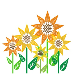 Abstract sunflowers vector