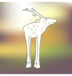Hand-drawn deer with long vector