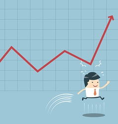 Businessman jump and graph vector