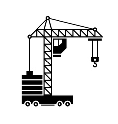 Crane icon silhouette on white background vector