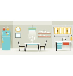 Kitchen dining room furniture display panorama vector