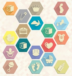 Baby icons in hexagons vector