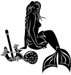Sitting mermaid with long hair vector