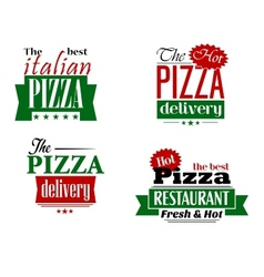 Italian pizza restaurant logo label flyer set vector