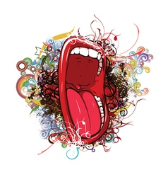 Mouth with floral vector